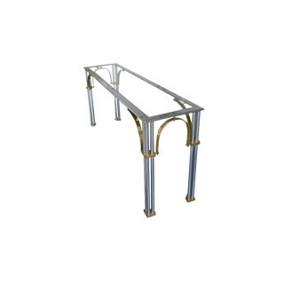 1970s Hollywood Regency Chrome & Brass Console Table Attributed to Milo Baughman