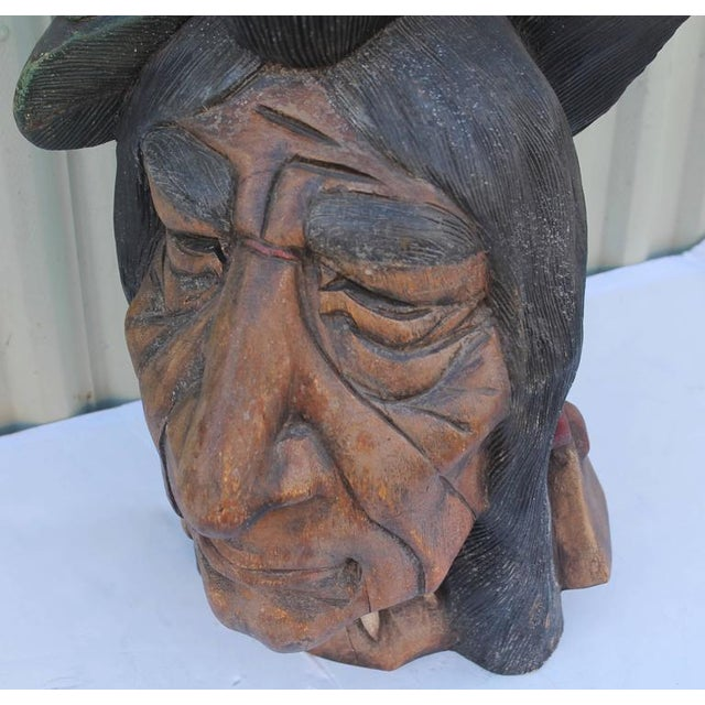 19th Century Original Painted Cigar Store Indian Head Carving - Image 7 of 7