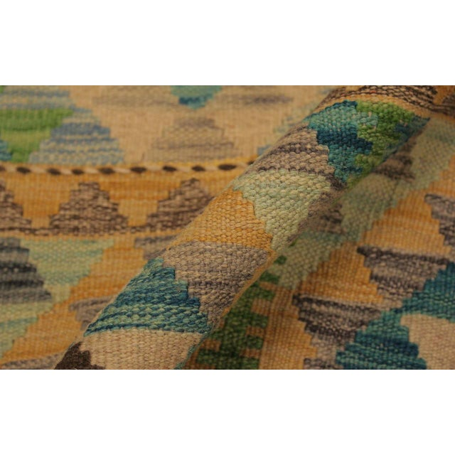 Asian Darleen Green/Teal Hand-Woven Kilim Wool Rug -5'2 X 6'7 For Sale - Image 3 of 8