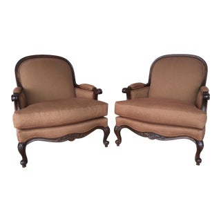 Stickley Fine Upholstery Louis XV Style Upholstered Bergere Chairs - a Pair For Sale
