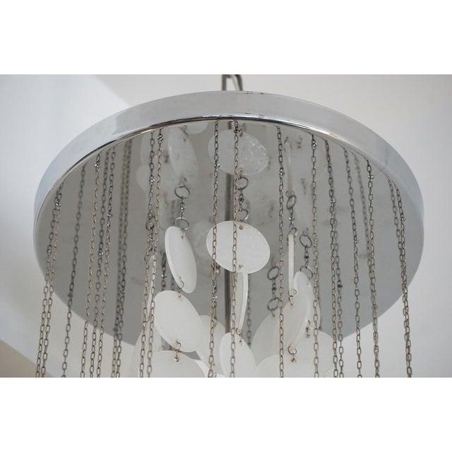 Mazzega Murano Mazzega Murano Cascade White Glass Disk Chandelier For Sale - Image 4 of 9