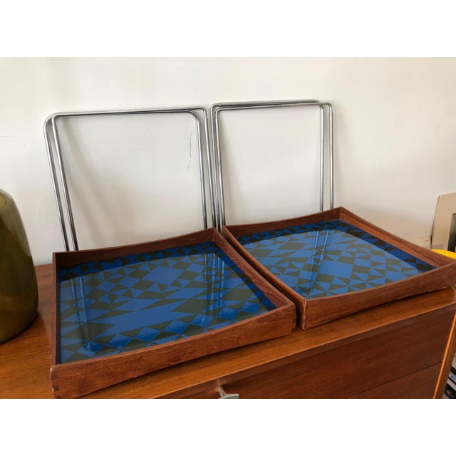 Enamel 1960s Vintage Hermann Bongard for Plus-Linje Norwegian Enamel Tray Tables - A Pair For Sale - Image 7 of 12
