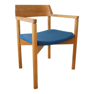 Gunlocke Mid-Century Modern Teak Blue Upholstered Chair For Sale