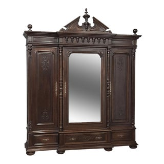 19th Century Neoclassical Revival Three Door Armoire For Sale