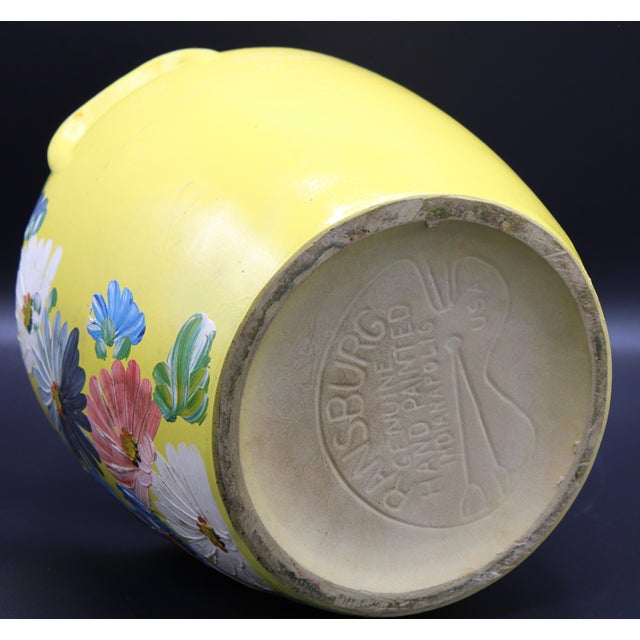 Vintage Yellow Hand Painted Floral Pottery Jar For Sale - Image 12 of 13
