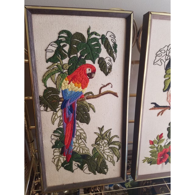 Vintage Crewel Embroidered Bird Artwork - A Pair - Image 4 of 5