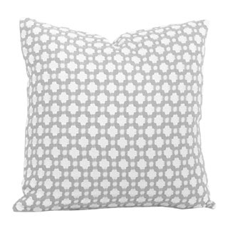 "20"" x 20"" Schumacher Betwixt in Zinc & White Decorative Pillow Cover For Sale"