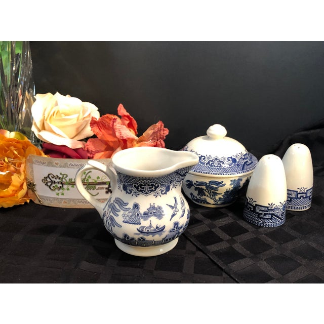 Churchill Churchill Blue Willow - Blue and White Cream and Sugar Salt and Pepper Set - 4 Pieces For Sale - Image 4 of 7