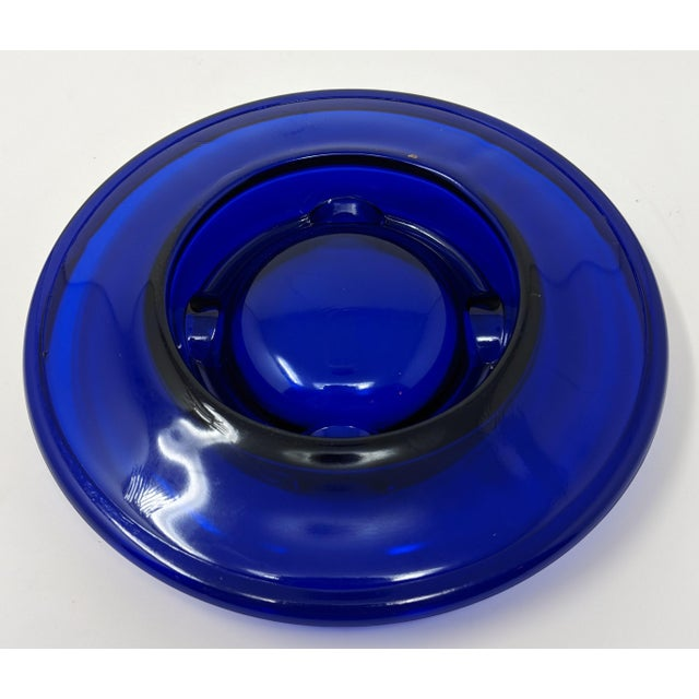 1950s Cobalt Blue Glass Ashtray For Sale - Image 4 of 5
