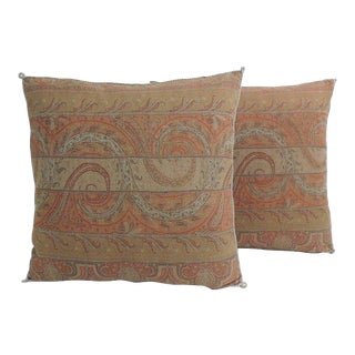 Pair of Red Kashmir Antique Textile Paisley Decorative Pillows with Trim