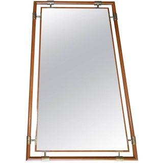 "1950s Mid-Century Modern Italian Gio Ponti Style Wood Brass ""Floating"" Wall Mirror"