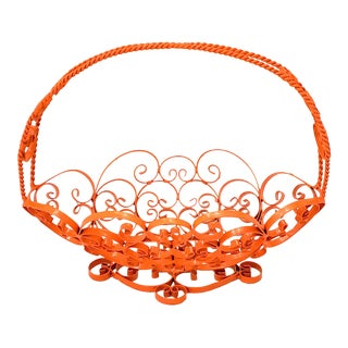 Mid-Century Modern Oblong Orange Metal Storage Basket For Sale