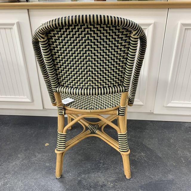 Vintage Leather Woven Bistro Chair (Navy&White) For Sale - Image 4 of 8