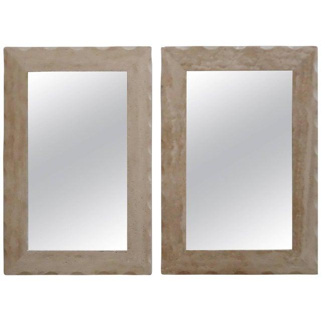 Modern Travertine Mirrors - A Pair - Image 1 of 5