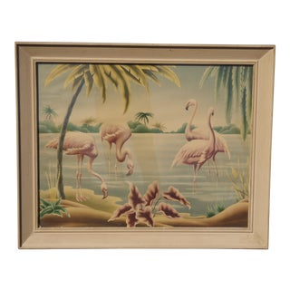 Vintage Framed Turner Print of Pink Flamingos on the Beach With Palm Trees For Sale