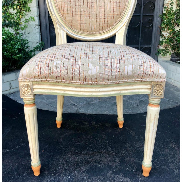 White Set of 6 French Louis XVI Balloon Back Dining Chairs For Sale - Image 8 of 10