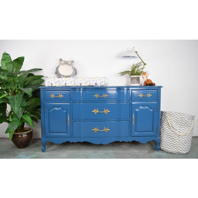 Blue 19th Century French Provincial Thomasville Blue Sideboard For Sale - Image 8 of 13