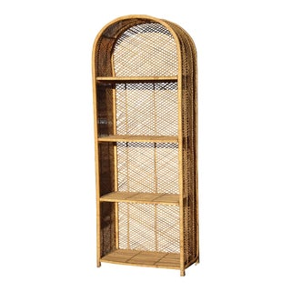 Vintage French Country Rattan Bookcase W Four Shelves For Sale