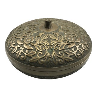 Vintage Lidded Floral Designed Brass Dish For Sale