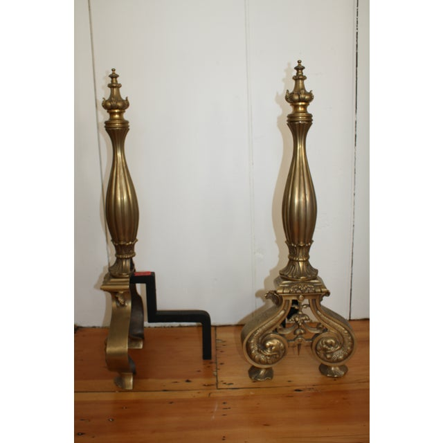 Beautiful vintage solid brass andirons are the perfect accent for your fireplace. Magnificent detail covers each andiron...