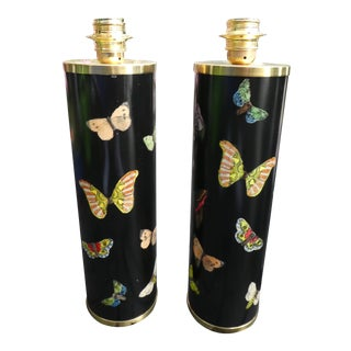 Large Mid Century Black Fornasetti Butterfly Lamps - a Pair For Sale