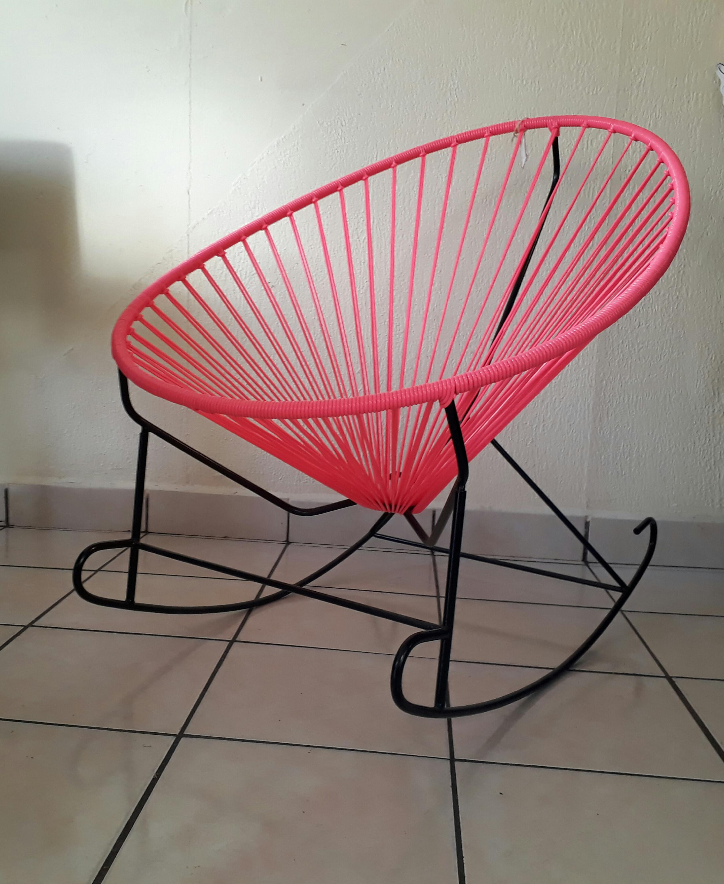 Pink Woven Acapulco Rocking Chair   Image 2 Of 3