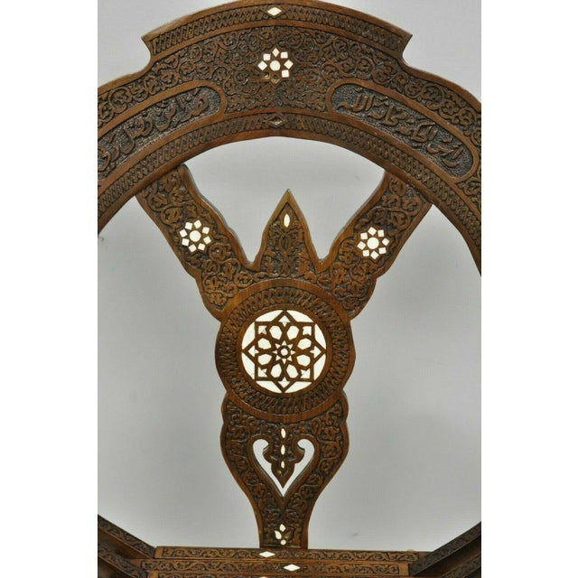Metal 19th Century Mother of Pearl Inlay Syrian Savonarola Curule Throne Arm Chairs- A Pair For Sale - Image 7 of 12