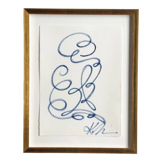 """""""The Anniversary #1"""" Contemporary Figurative Continuous Line Acrylic Painting by Kellie Lawler, Framed For Sale"""
