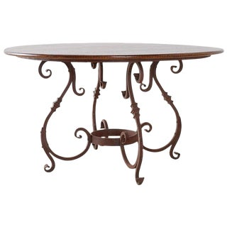 Italian Oak and Scrolled Iron Round Dining Table For Sale
