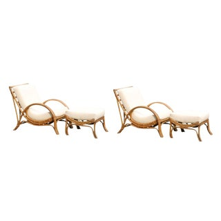 Customizable Killer Pair of Restored Vintage Lounge Chairs with Matching Ottoman