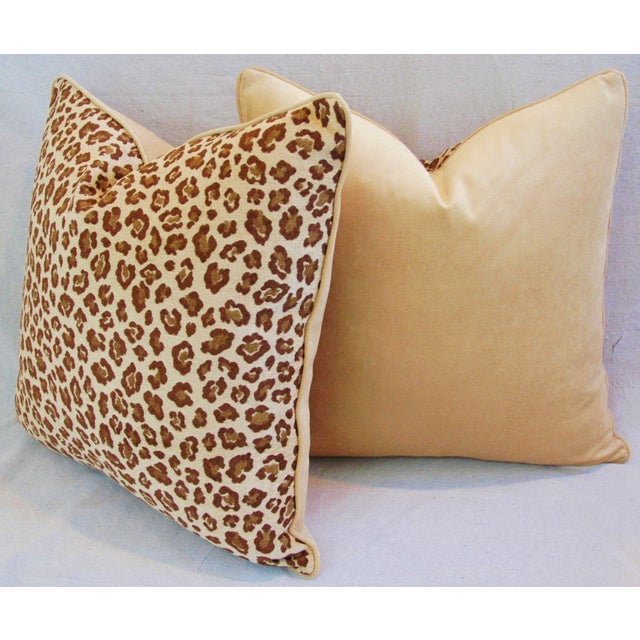 "Tan Leopard Safari Velvet Feather/Down Pillows 24"" Square - Pair For Sale - Image 8 of 9"