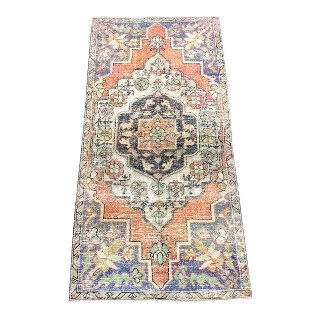 1960s Vintage Bohemian Turkish Handmade Rug- 3′5″ × 6′11″ For Sale