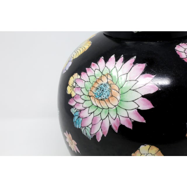 Ceramic Black Hand-Painted Melon Jar With Flowers For Sale - Image 7 of 11