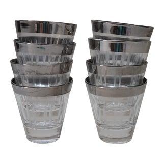 Silver Rimmed Shot Glasses - Set of 8 For Sale