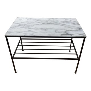 1950s Italian Iron and Marble 2-Tiered Side Table For Sale
