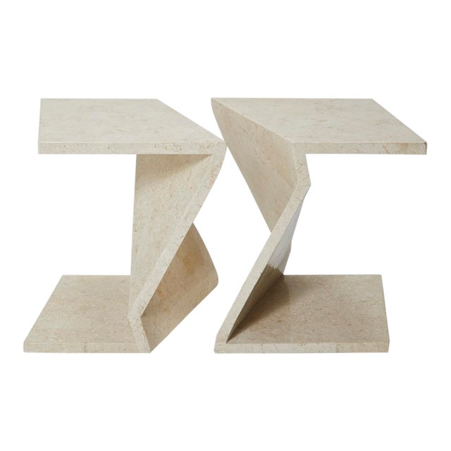 Zig Zag Side Tables or Coffee Table in Tessellated White Stone, 1990s - a Pair For Sale