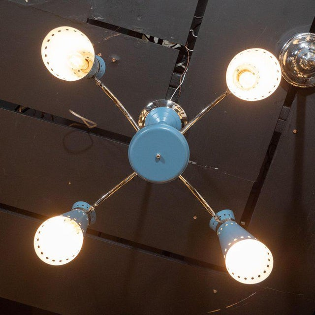 Mid-Century Modern Four-Arm Chrome and Cerulean Blue Enamel Chandelier For Sale In New York - Image 6 of 9