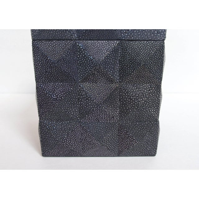 Italian Pyramid Black Shagreen Box by Fabio Ltd For Sale - Image 3 of 8