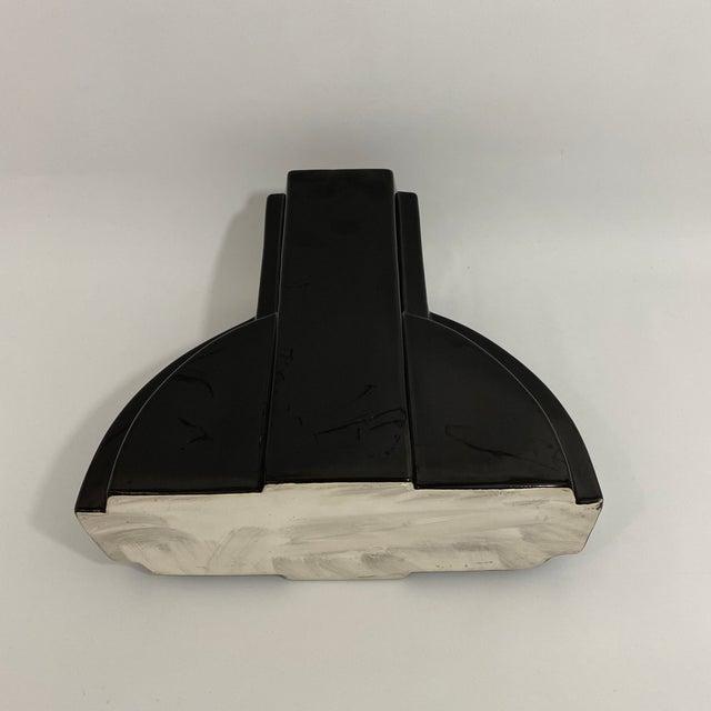 Postmodern Black Ceramic Vase For Sale - Image 12 of 13