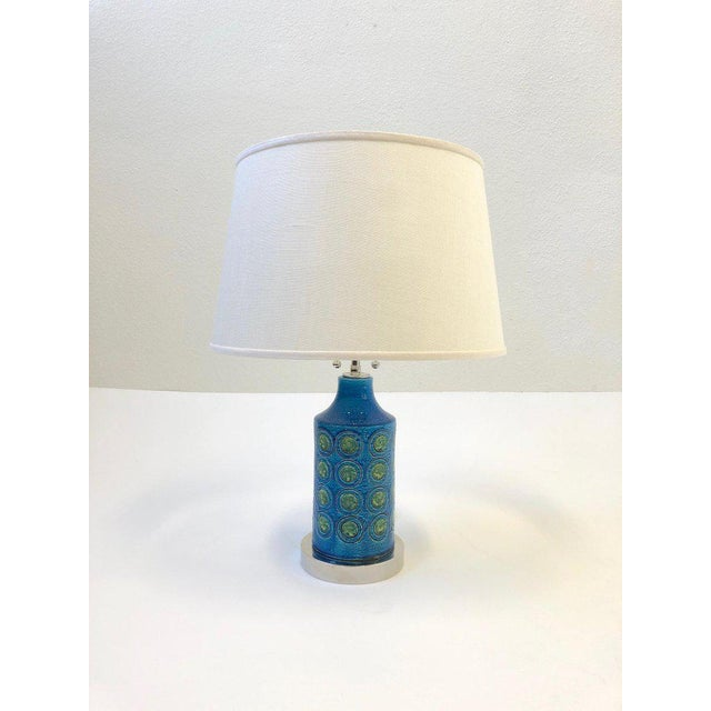 1960s Italian Ceramic and Nickel Table Lamps by Bitossi - a Pair For Sale - Image 5 of 10