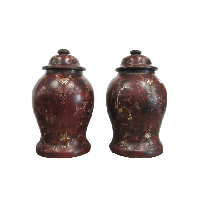 Brown Lacquer Godlen Scenery Jars - Pair - Image 2 of 6