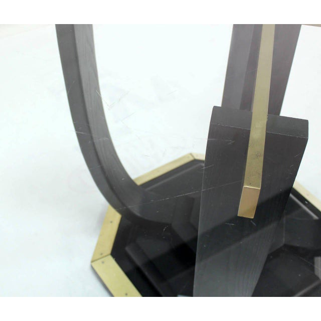 Superior Square Glass Top Black Lacquer Brass Base Dining Or - Black glass conference table