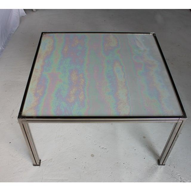 Chrome Coffee Table With Opal Slag Glass - Image 2 of 6