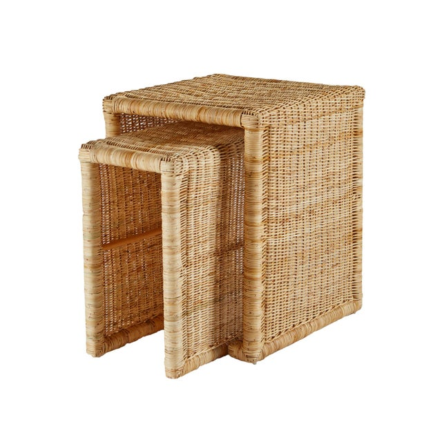 Selamat Designs Pamona Natural Rattan Nesting Tables Set Of 2 Chairish