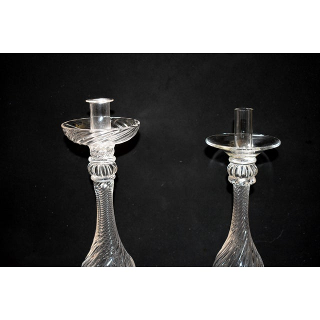 Seguso Late 20th Century Vintage Seguso Handblown Glass Candle Holders- A Pair For Sale - Image 4 of 10