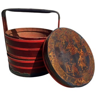Chinese Antique Bamboo Basket With Painted Lid For Sale