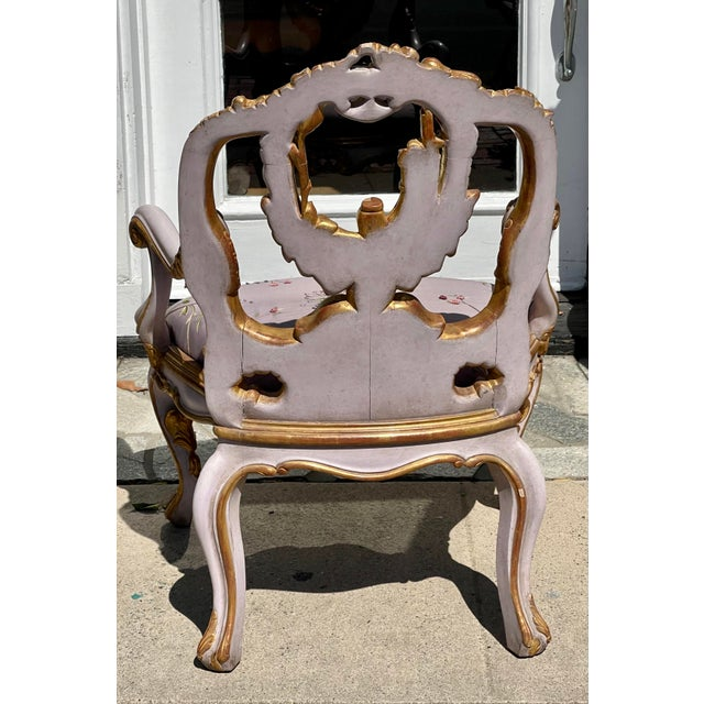 William Switzer Venetian Purple Palazzo Arm Chair by Charles Pollock for William Switzer For Sale - Image 4 of 5