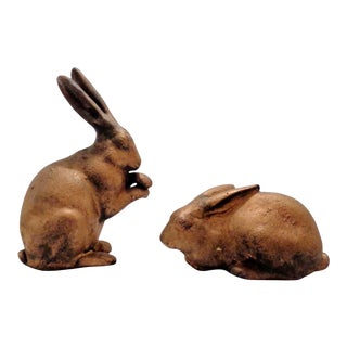 Vintage Gold Cast Iron Bunny Rabbits ~ a Pair For Sale