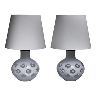 Carlo Nason Pair of Moon Table Lamps for Mazzega in White, Italy, 1970s