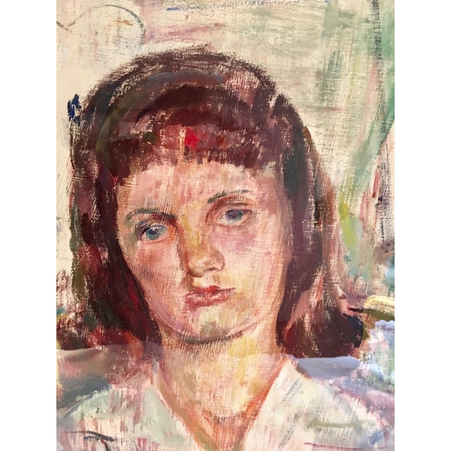 Vintage portrait by listed Modernist artist Dorothy Loeb, 1887 - 1971. Signed and dated 1945. Oil stick on paper. The...
